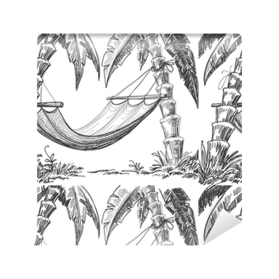 Drawing wallpapers. Hammock and palm trees