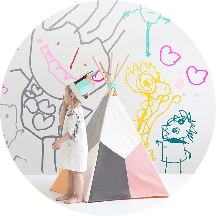 Drawing wallpapers. Custom kids wall decals