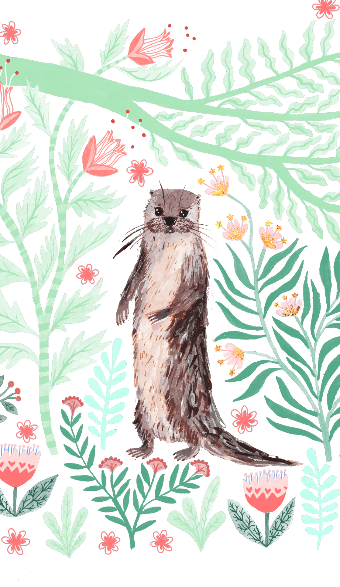 Drawing wallpapers artsy. Floral otter casetify iphone