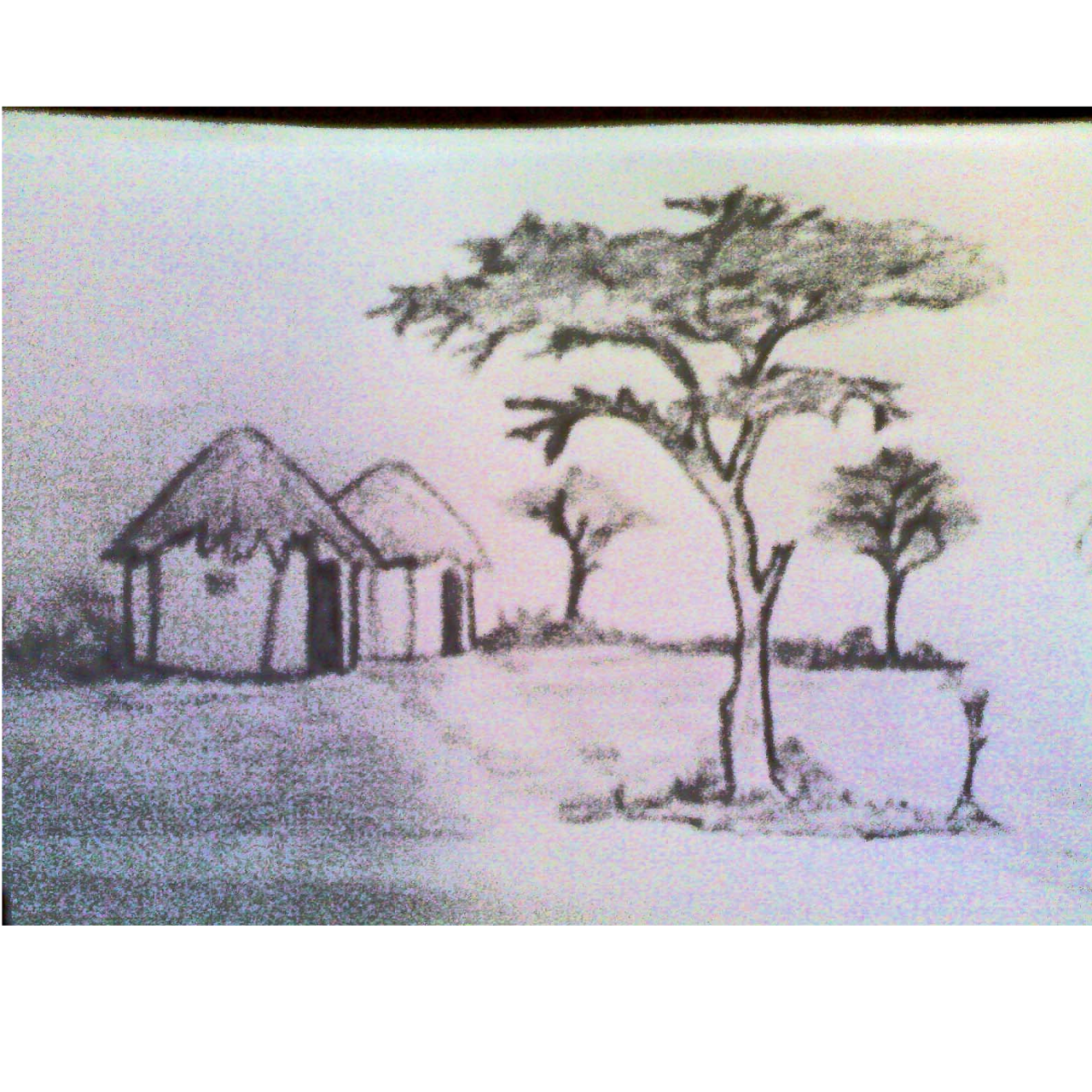 Drawing wallpapers landscape. Pencil sketch of indian