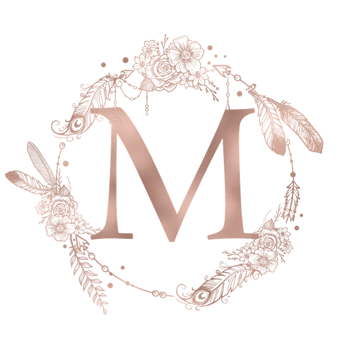 Drawing wallpapers rose gold. Letter m pink initial