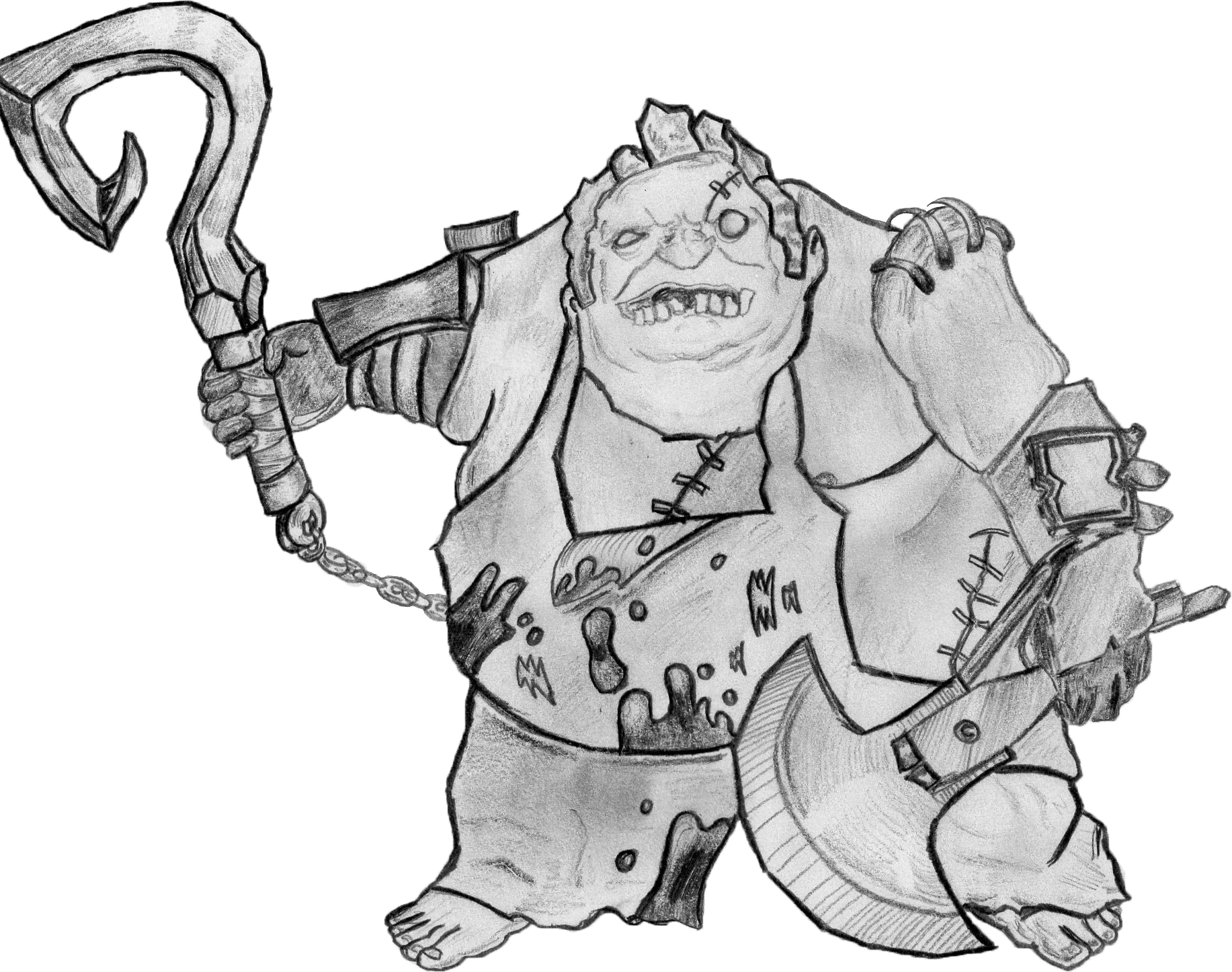Drawing wallpapers sketch. Dota pudge cleaned version