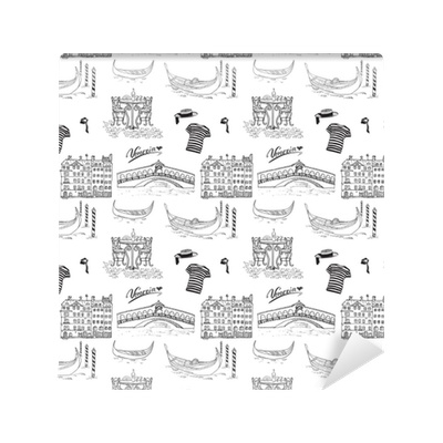 Drawing wallpapers sketch. Venice italy seamless pattern
