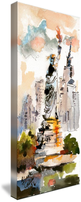 Liberty drawing watercolor. Statue of new york