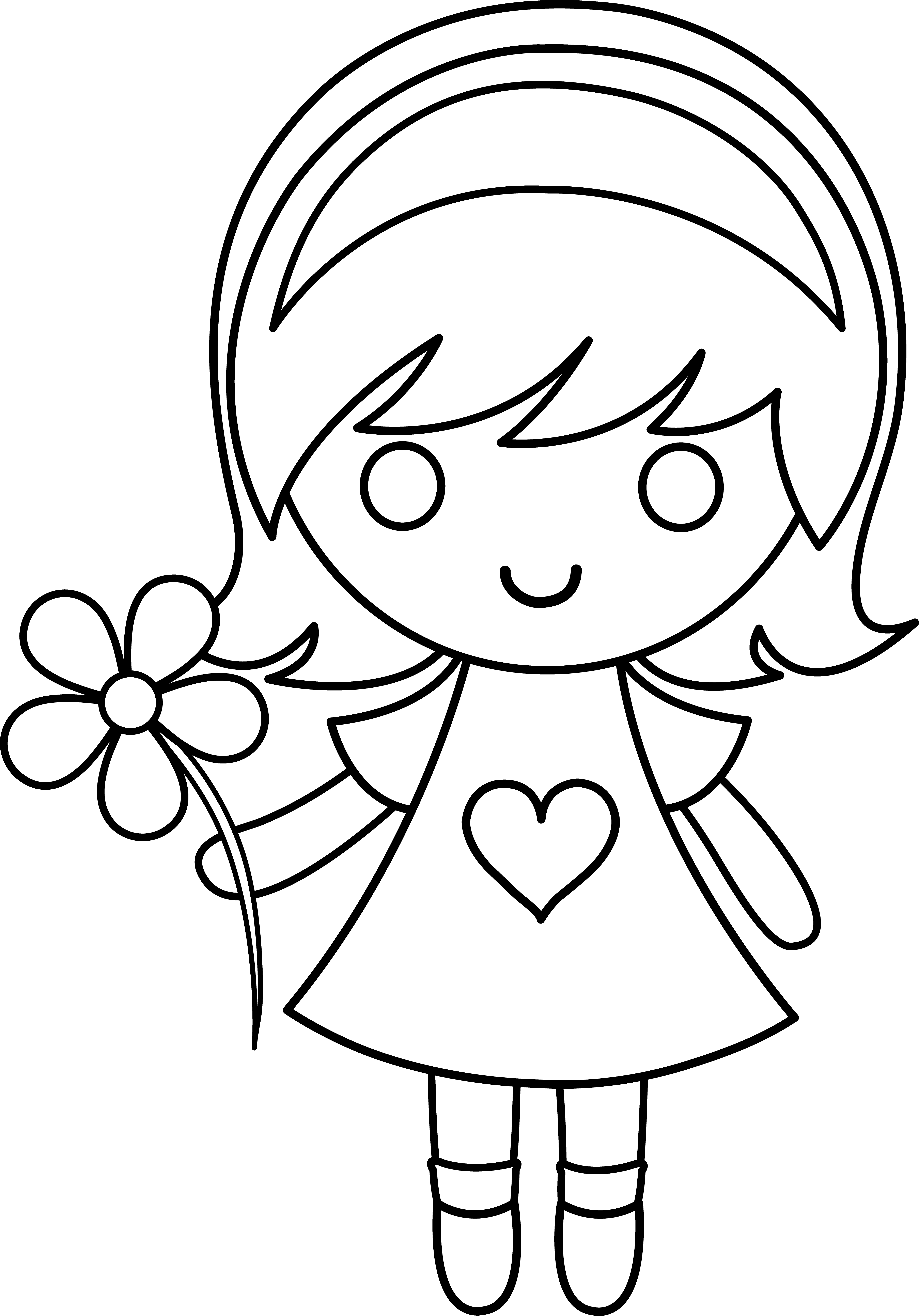 Designer drawing little girl. With flower at getdrawings