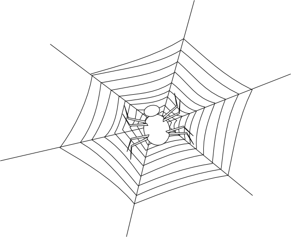 Spiders drawing outline. Spider web clip art