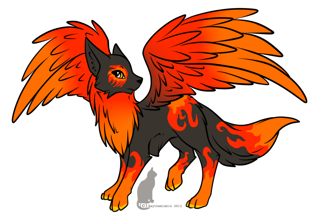 Wolves transparent fire. Wolf with wings