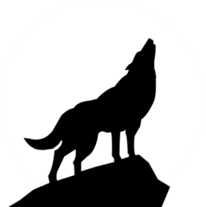 Wolves transparent black and white. Howling wolf silhouette psd