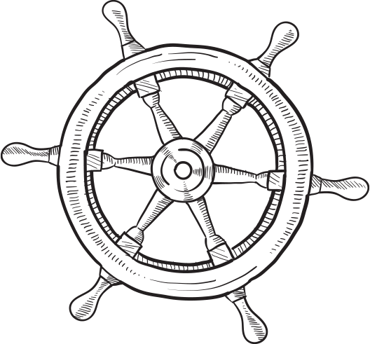 Drawing wheel ships. Collection of steering