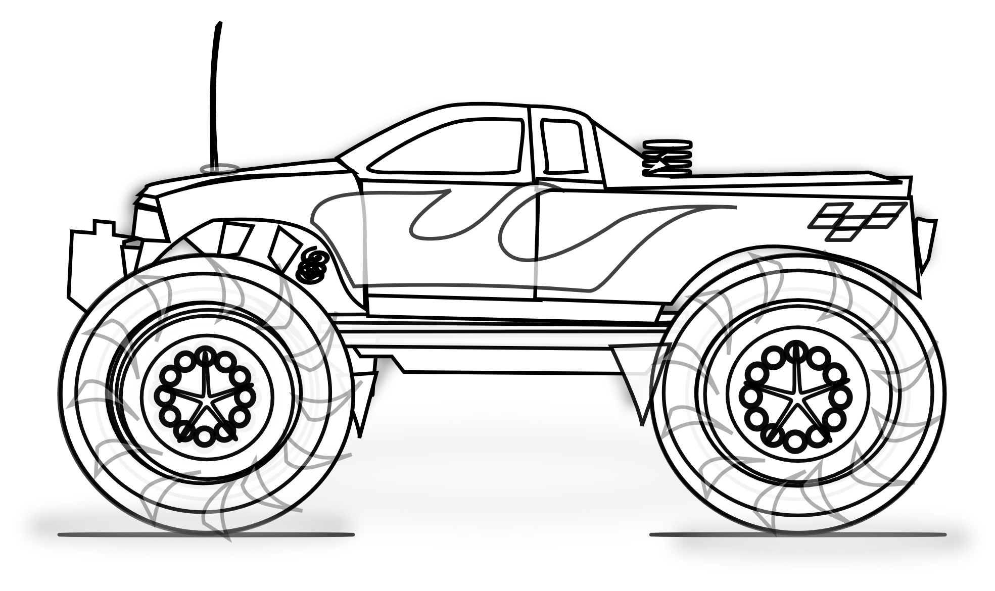Drawing wheels monster truck. Free printable coloring pages