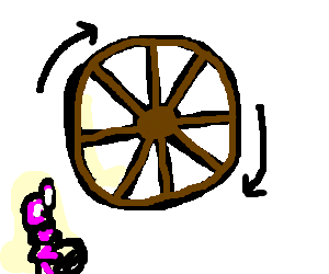 Rim drawing perpetual motion. Old wagon wheel holds