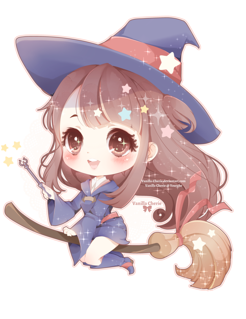 Drawing witches kawaii. Little witch akko by