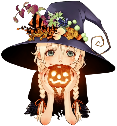 Drawing witch beginner. Halloween anime girl cute