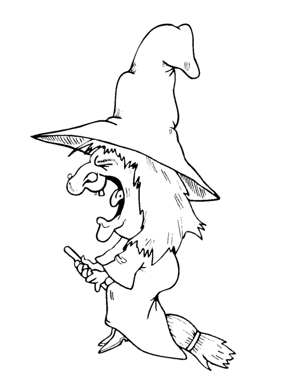 Drawing witch nose. New flying coloring page