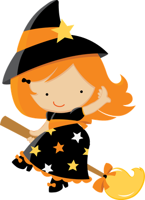 Drawing witch kid. Halloween minus cute clip