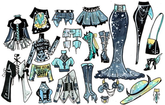 Drawing witch outfit. Crystal closed mix and