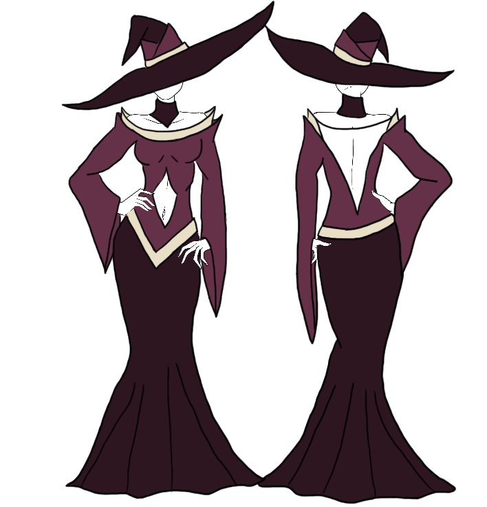 Drawing witch outfit. Sassy dress closed by