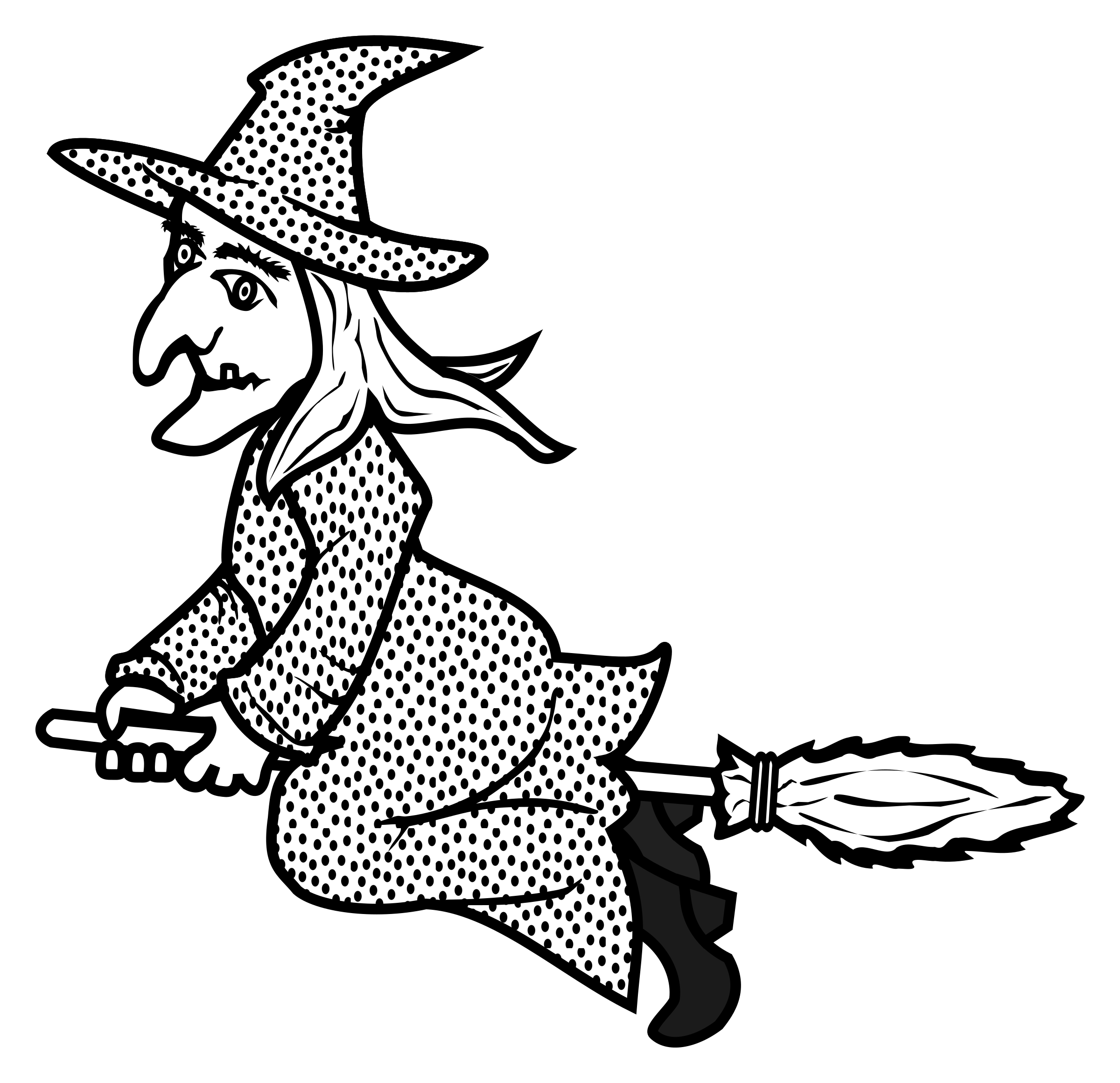 Drawing witch outline. Clipart lineart big image