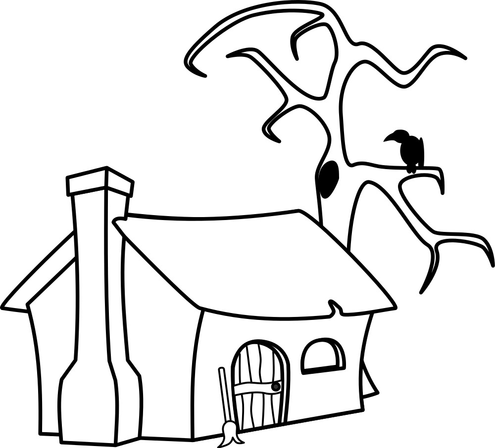 Drawing witch outline. Collection of free cottaged