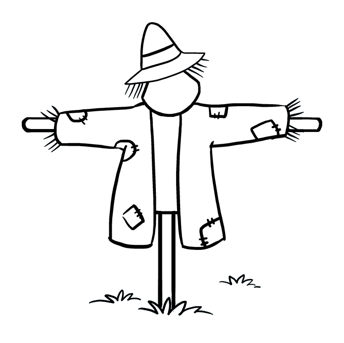 Scarecrow transparent field drawing. How to draw a