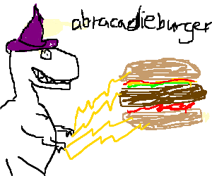 Drawing wizards lightning. Dinosaur wizard attacks burger