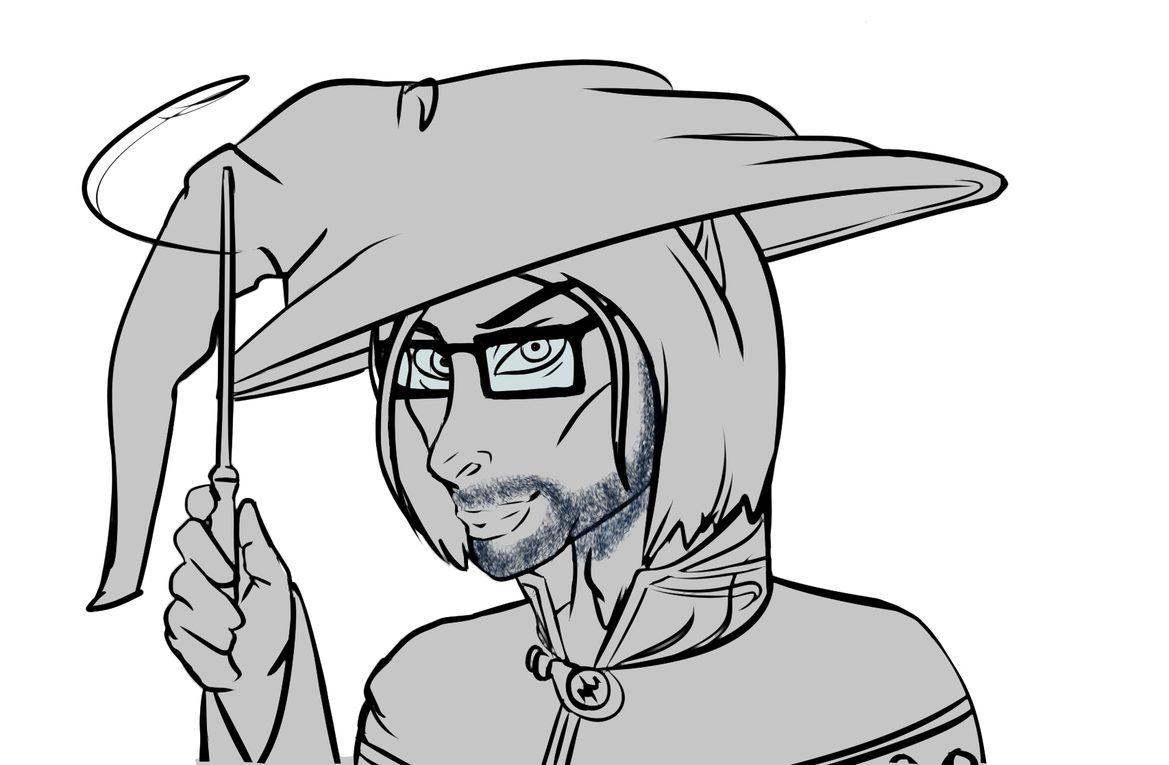 Drawing wizard sketch. Image hector b png