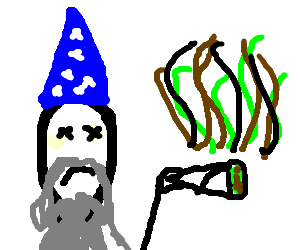 Drawing wizards smoking. Happy wizard dies a