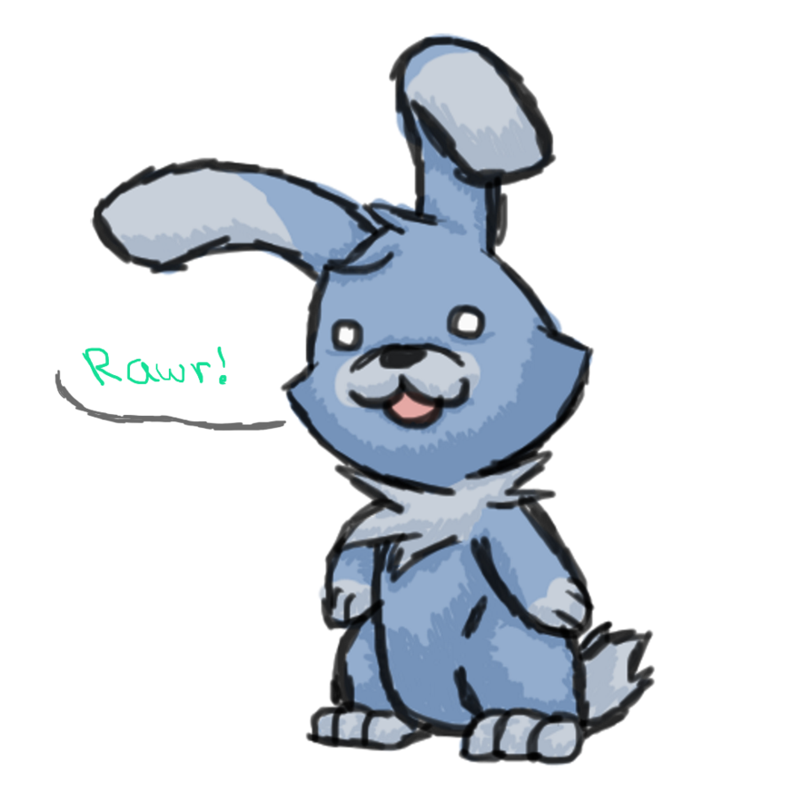 Drawing wizards bunny. Blue by an evil