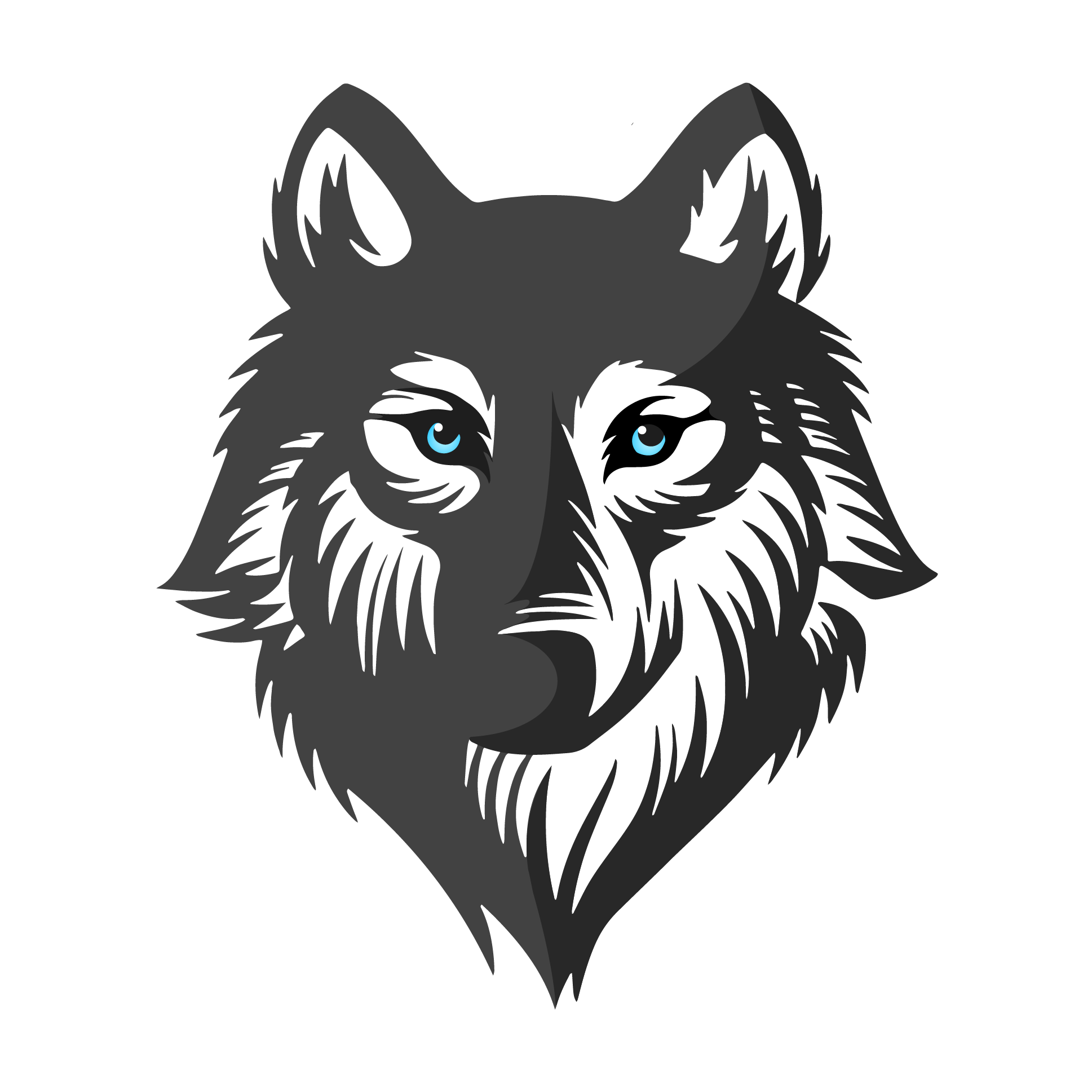Drawing wolfs head. Logo front page the
