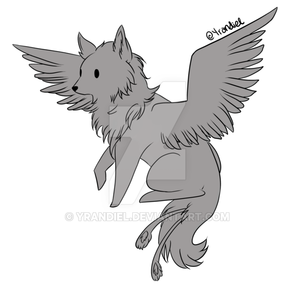 Drawing wolfs winged wolf. Ptu simple base by