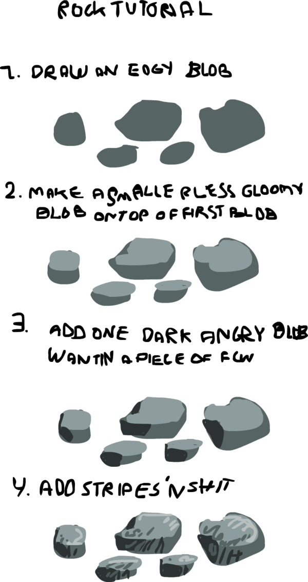 Drawing wounds tutorial. Rock by griffsnuff on