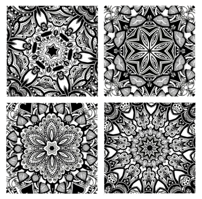 Zentangle tile set lineart. Tangle drawing pattern inside clipart freeuse stock