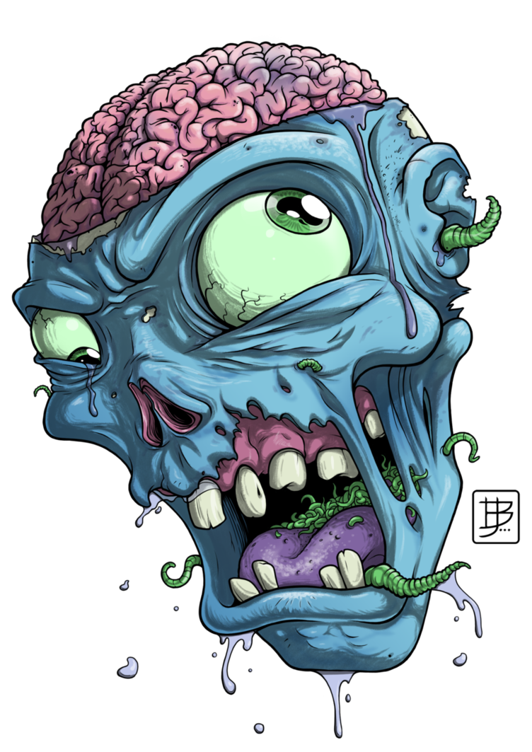 Vector zombie art. Head drawing more from