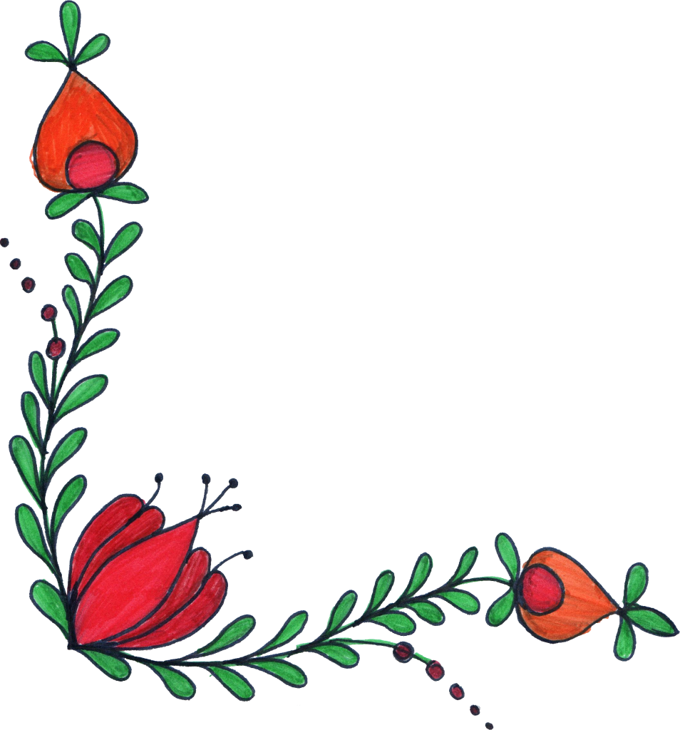 Drawn flowers png. Flower corner drawing