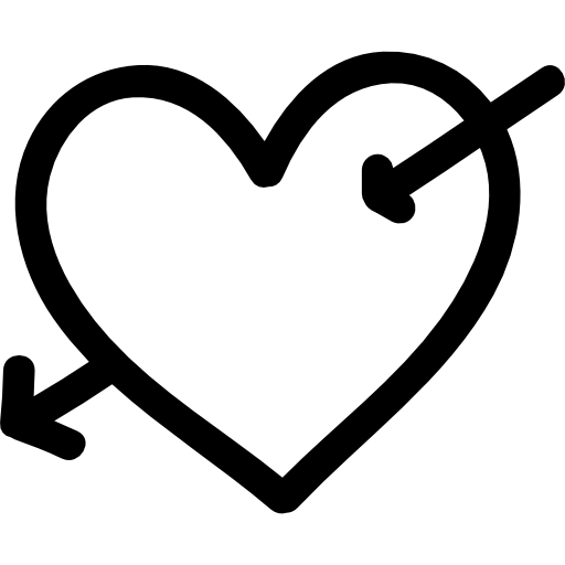 Drawn heart outline png. With cupid arrow hand