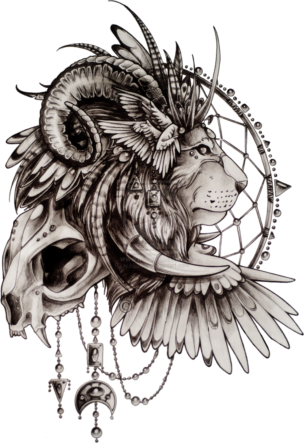 Dream catcher tattoo png. Image native american lion