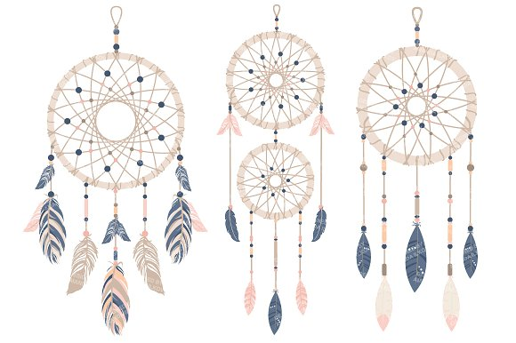 Dreamcatcher clipart. Navy blush illustrations creative