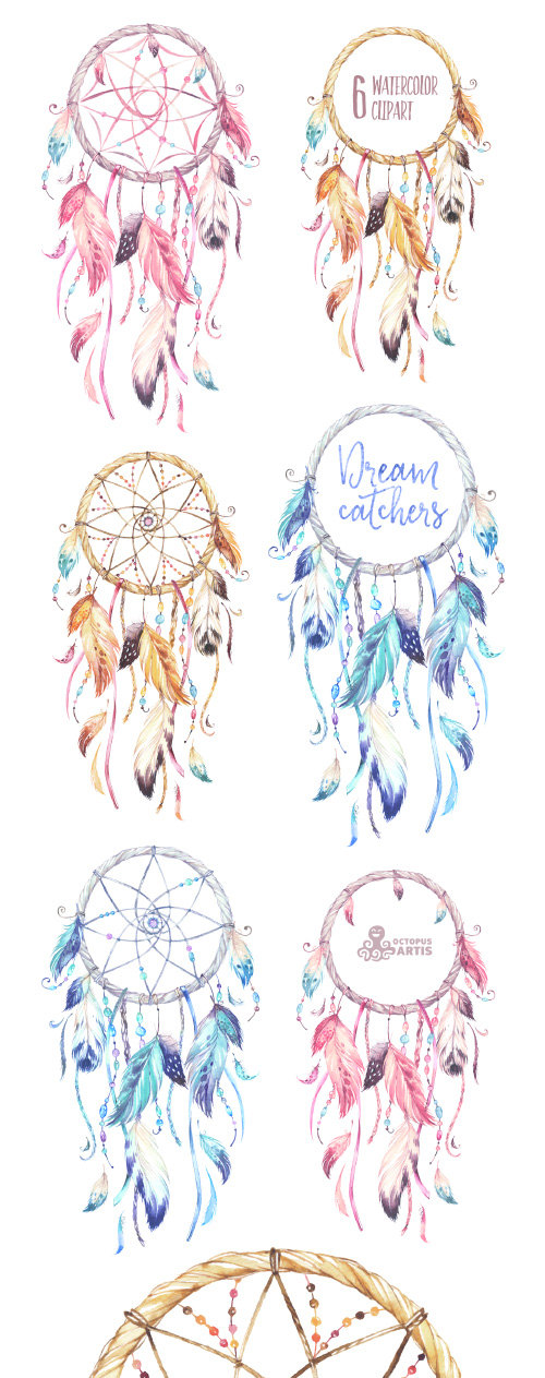 Dreamcatcher clipart high resolution. Dreamcatchers watercolor tribal feathers