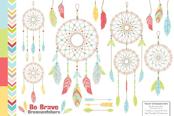 Dreamcatcher clipart illustration. Fresh bright graphics illustrations