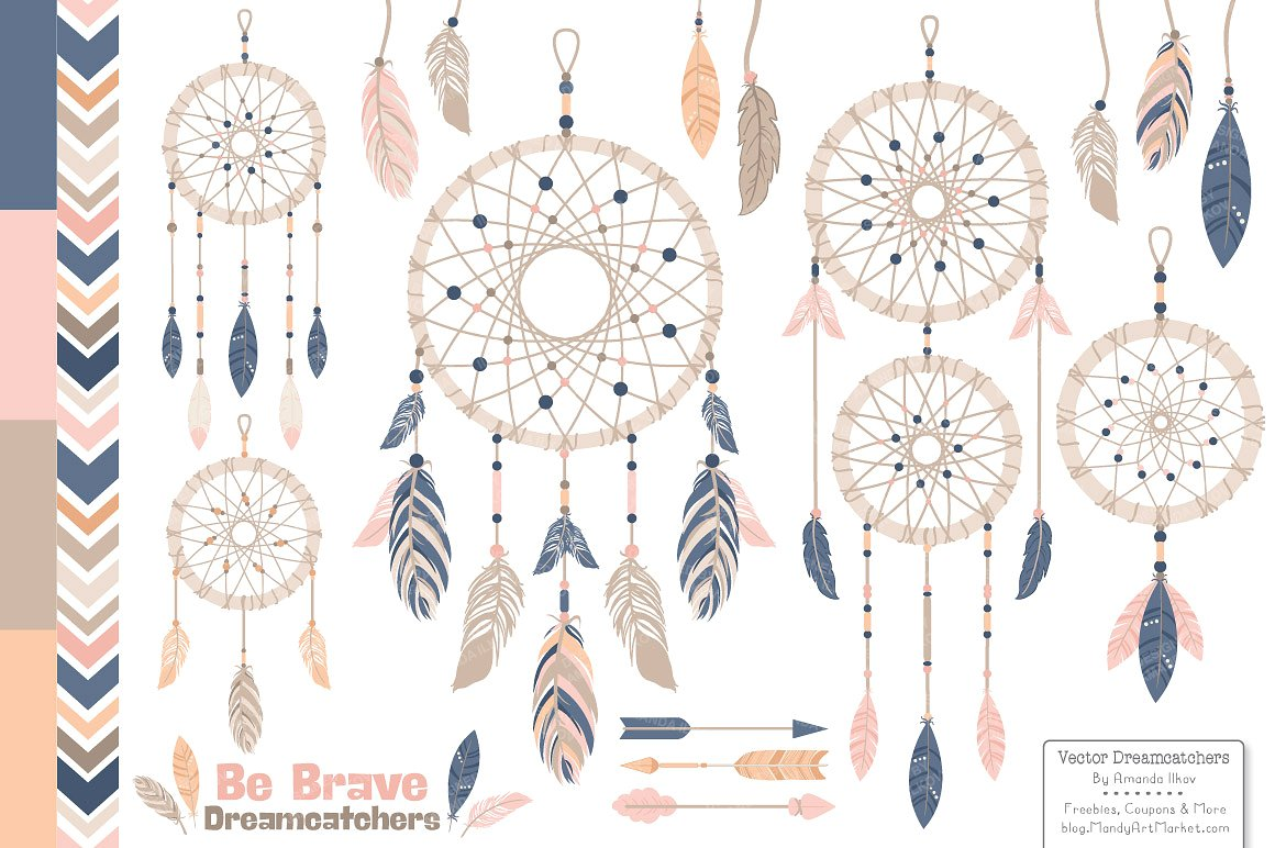 Dreamcatcher clipart jpeg. Navy blush illustrations creative