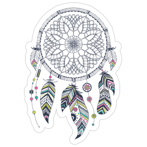 Dreamcatcher transparent bohemian. With colorful feathers boho