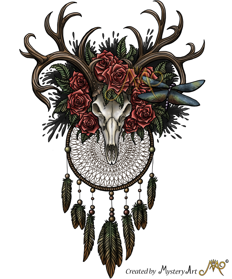 Dreamcatcher transparent floral. Skull with colors by