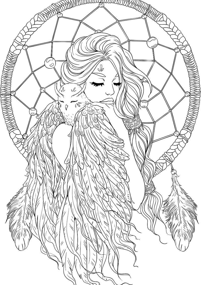 Dreamcatcher transparent coloring page. Lineartsy free adult lined