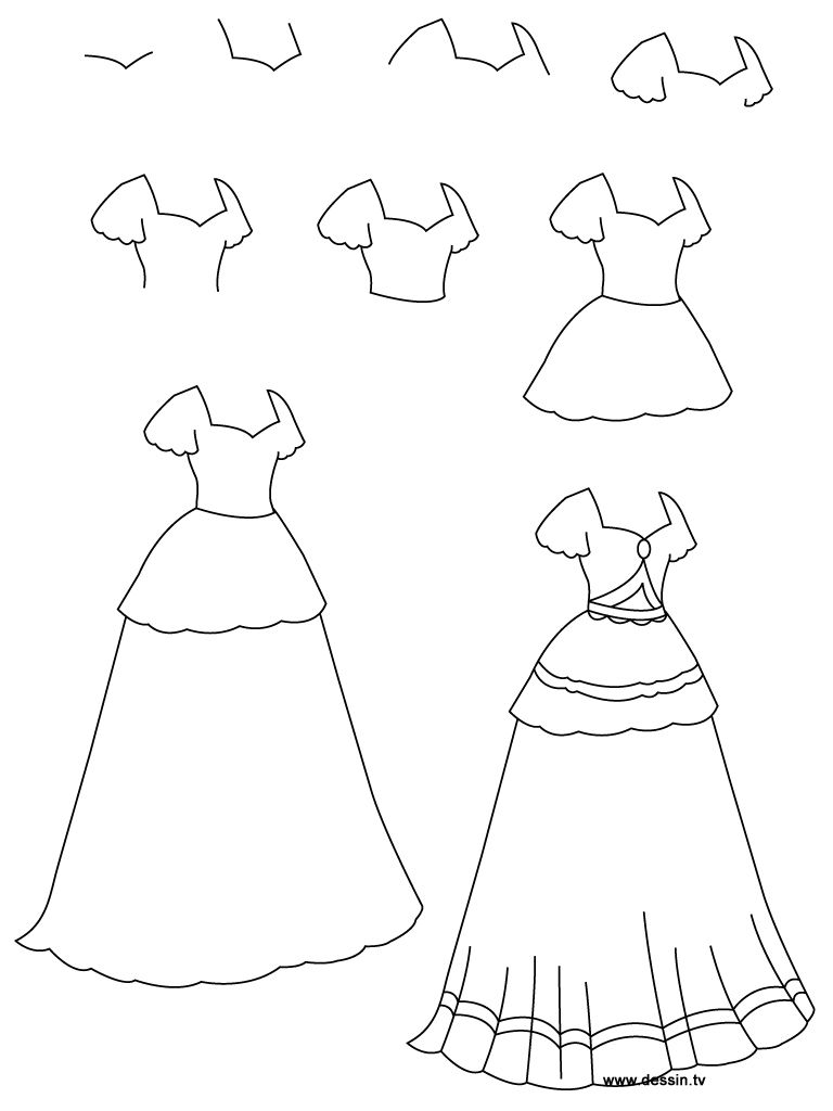 Dress clipart easy. How to draw a