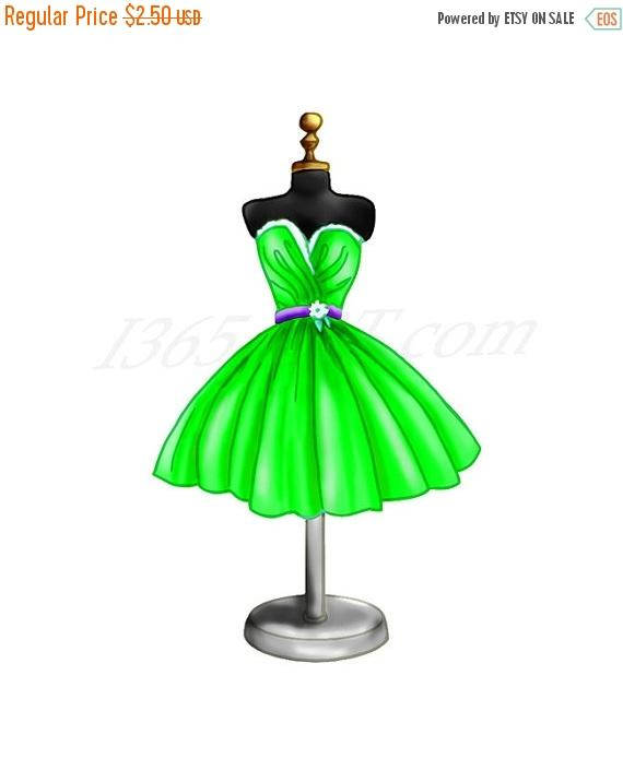 Dress clipart party dress. Off green clip