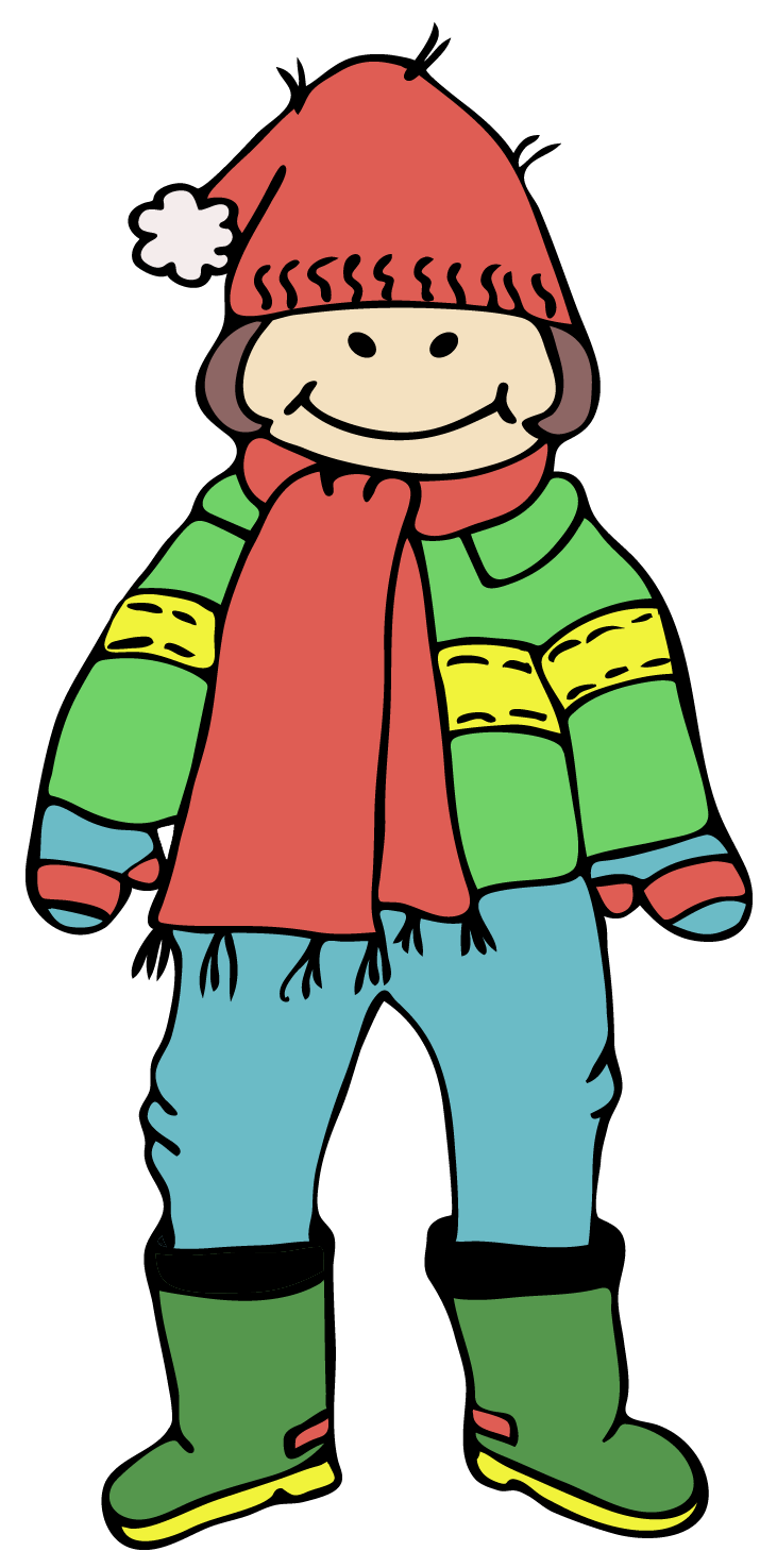 January clipart cold weather clothes. Digital downloads happy kids