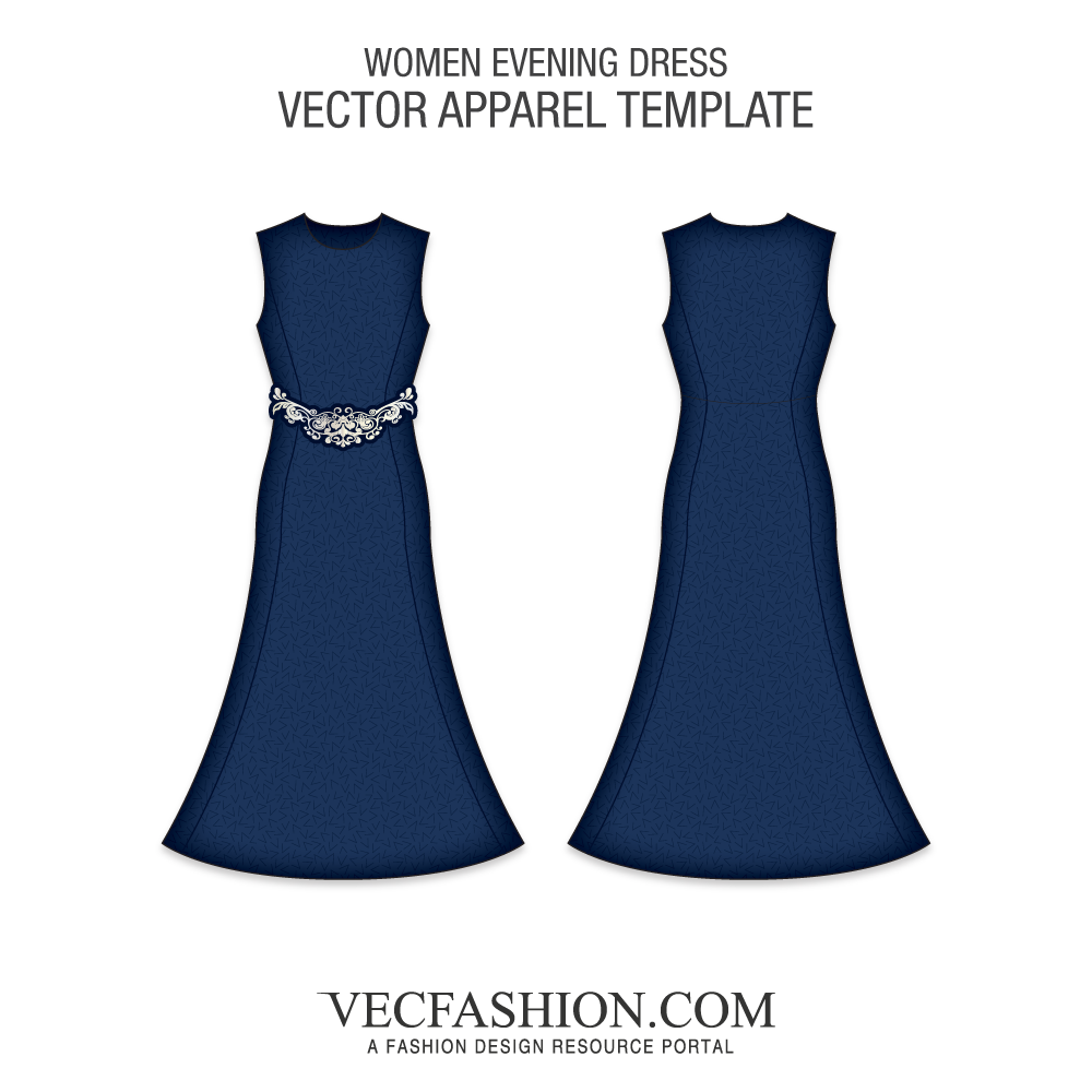 Dress vector png. Deep blue evening template
