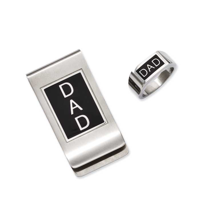Dring clip stainless steel. Chisel dad enamel ring