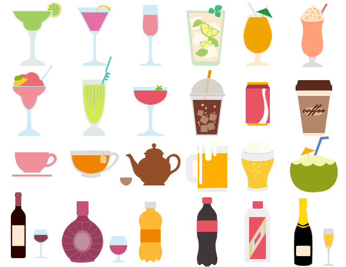 Drinks clipart. Best vector drink and