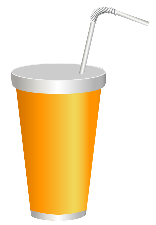 Drink with straw png. Yellow plastic cup clipart